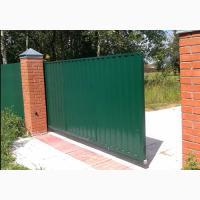 Ворота въездные, откатные из профнастила от компании Престиж Забор