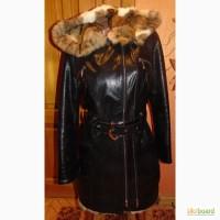 Дубленка натуральная мех камышовый кот и капюшоном