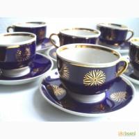 6 фарфоровых чайных пар, Довбыш СССР, кобальт