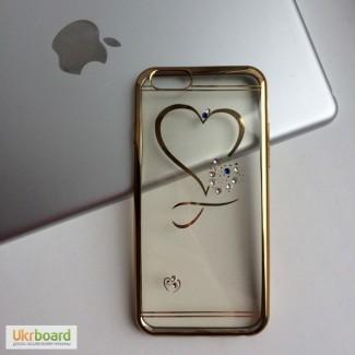 Чехол силиконовый со стразами Love на iPhone6/6S