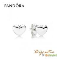 Серьги PANDORA серебряные сердца 290550 оригинал Пандора