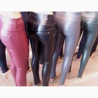 Модные женские лосины из эко кожи на флисе, размеры 42-52, цвета разные