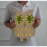 Деревянный LED светильник Сова для детской