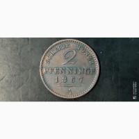 2 пфеннига. 1867г. А. Пруссия. Германия
