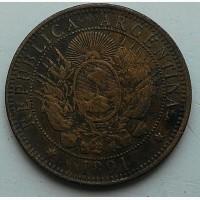 Аргентина 2 сентаво 1891 год дм. 29, 5 мм, вес 9, 86 г