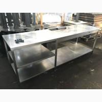 Стол из нержавеющей стали б/у с вырезами под гастроемкости 2400/700/850