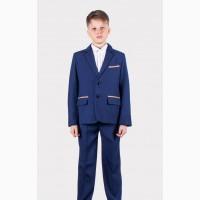 Синий школьный костюм с заплатками