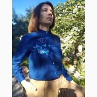Блузка хлопковая с вышивкой (синяя и черная). Ручная работа