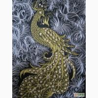 Картина-панно Птица счастья золотое шитье