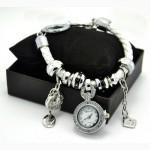 Киев.Часы браслет Pandora, женский кожаный браслет с часами Пандора (белые)