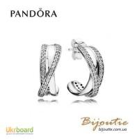 Серьги Pandora Сплетение 290576CZ серебро 925