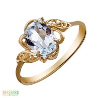 Золотое кольцо с топазом и бриллиантами 0,01 карат 17,5 мм. НОВОЕ (Код: 17242)