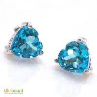 Серебряные гвоздики с голубыми топазами сердце 2,00 карат. НОВЫЕ (Код: 00132)