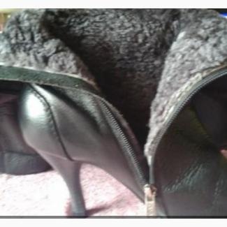 Кожаные сапоги на цигейке 48 р Состояние отличное