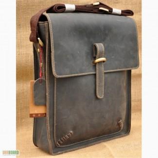 Продается кожаная сумка - мужской кожаный мессенджер, винтажная сырая лошадиная кожа