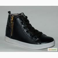 Демисезонные ботинки для девочек BG арт.BG2215-547 черн блеск с 25-30р