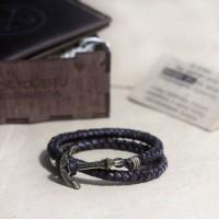Подарочный набор для мужчины: мужской кошелёк + кожаный браслет
