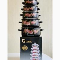 Набор эмалированных кастрюль GLOBAL 5 штук