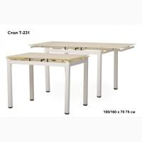 На продажу выставлен кухонный раскладной стол Т-231-9 кремовый цвет 100-160х70 см