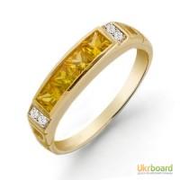 Золотое кольцо с сапфирами и бриллиантами 16,5 мм. НОВОЕ Натуральные камни!
