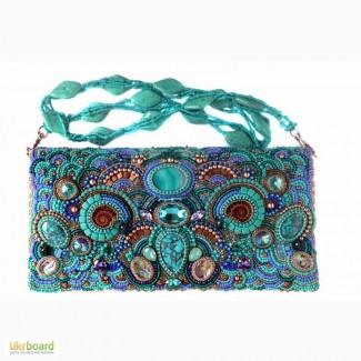Кожаная сумочка-клатч с натуральными камнями Киев Одесса Днепр Харьков Львов Запорожье