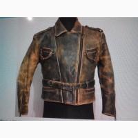 Немецкая куртка косуха пилот, бомбер из кожи ретро стиль ! красная кожаная куртка Италия