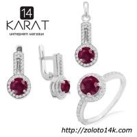 Серебряный набор с натуральным рубином 3, 20 карат. Кольцо, серьги и кулон. НОВЫЕ Код: 1026