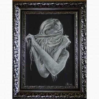 Картина автора «Я смутилась» -белая пастель, формат А4