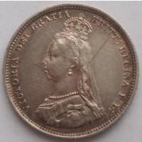 Англия 1 шиллинг 1887 год серебро