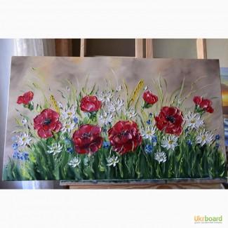 Картина маслом Польові квіти 45х80