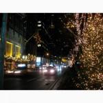 Новогодние уличные гирлянды Киев, новогоднее оформление гирляндами, монтаж гирлянд