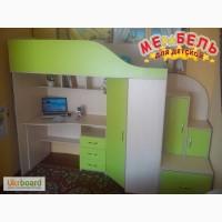 Кровать-чердак с рабочей зоной, угловым шкафом и лестницей-тумбой (кт1) Merabel