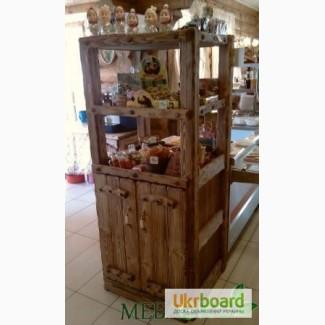 Буфет - витрина под старину из натурального дерева, Буфет Для Продуктов