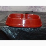 Двойная миска для собак и кошек, пластик, *180мл*130мл