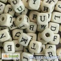 Бусины деревянные Алфавит