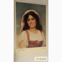Открытка (ПК). Картина «Итальянка». Худ. Й. Зеничек. Чехословакия. Лот 193