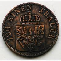 Германия 3 пфеннига 1860 год ОТЛИЧНЫЙ СОХРАН