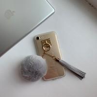 Чехол силиконовый с бубоном и кисточкой на iPhone 7/8
