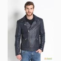 Кожаная куртка Usual Way темно-синяя Распродажа -10700
