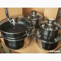 Набор посуды из нержавеющей стали Германия 9-ти слойное дно+подарок фен