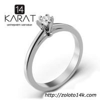 Золотое кольцо с бриллиантом 0, 10 карат 17 мм. Белое золото. Кольцо для помолвки