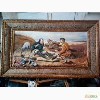 Продам объёмную картину на тему охотники на привале