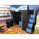 Кровать-чердак с рабочей зоной, угловым шкафом и лестницей-комодом (кл6) Merabel