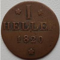 Франкфурт 1 геллер 1820 год РЕДКАЯ