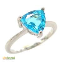 Серебряное кольцо с голубым топазом 1,00 карат. НОВЫЕ