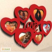 Деревянная мультирамка-фоторамка Любовь для 6 фотографий красная настенная