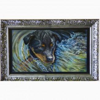 Картина автораКупание щенка-пастель 55х32