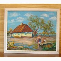 Картина маслом Украинский пейзаж. Подсолнухи