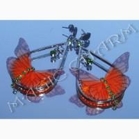 Продам серьги с оранжевыми бабочками