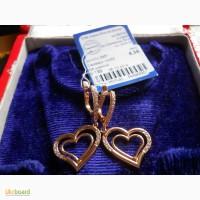 Золотые серьги сердечки-подвески 585 пробы